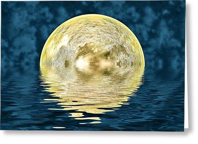 Reflecting Water Digital Art Greeting Cards - Golden moon Greeting Card by Sharon Lisa Clarke