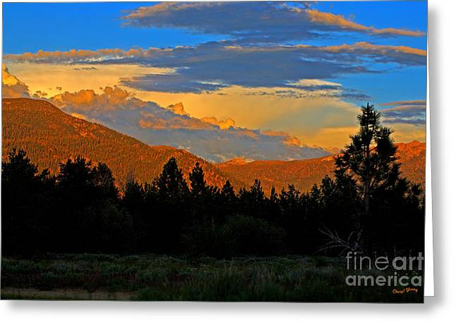 South Lake Tahoe Greeting Cards - Golden Mountain Greeting Card by Cheryl Young