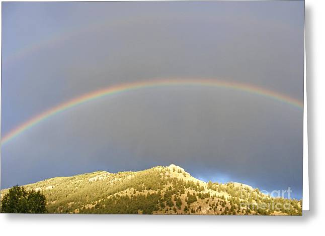 Double Rainbow Greeting Cards - Golden Mountain Double Rainbow Greeting Card by Kara Kincade