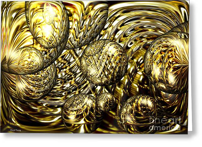 Reception Room Greeting Cards - Golden Orbs Greeting Card by Cheryl Young