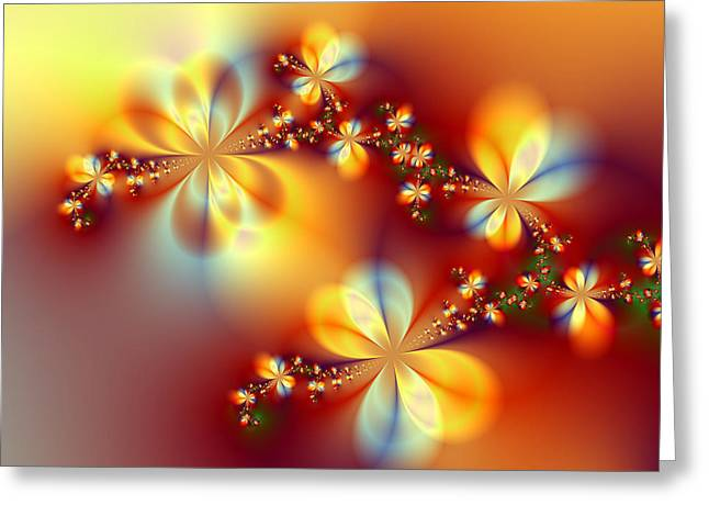 Surreal Geometric Mixed Media Greeting Cards - Golden Paradise Greeting Card by Ester  Rogers