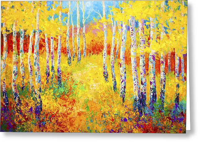 Birch Trees Greeting Cards - Golden Path Greeting Card by Marion Rose