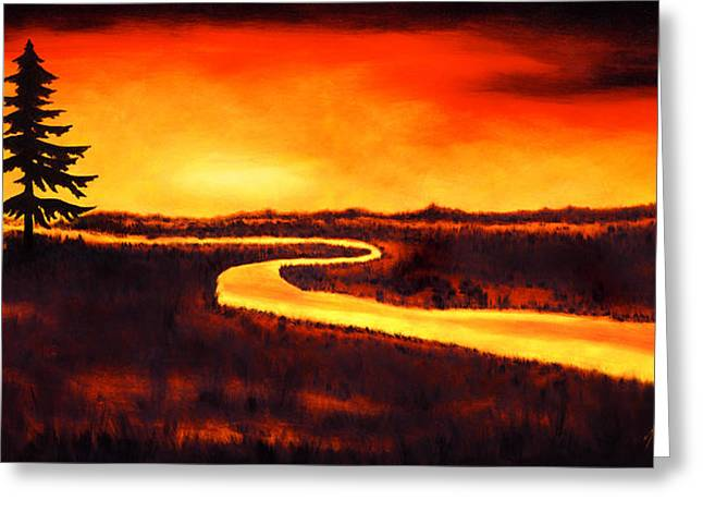 Sunset Greeting Cards Greeting Cards - Golden Path Greeting Card by Mauro Celotti