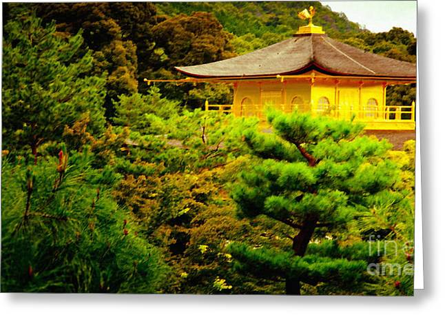 GOLDEN PAVILION temple in kyoto glowing in the garden Greeting Card by Andy Smy