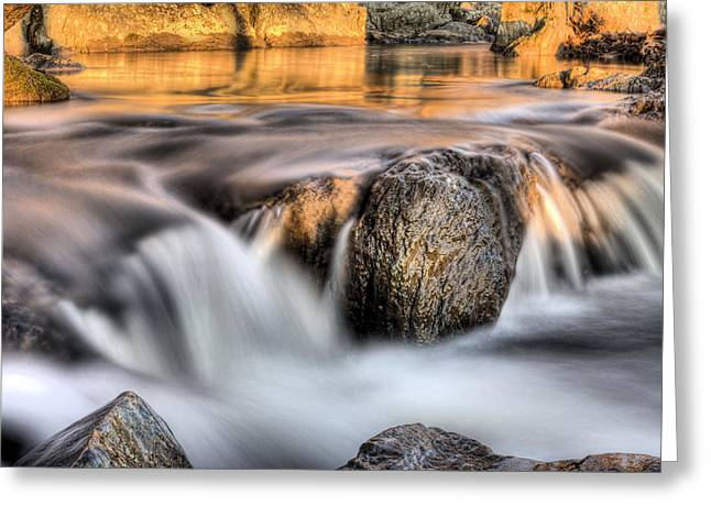 Great Falls Greeting Cards - Golden Pond Greeting Card by JC Findley