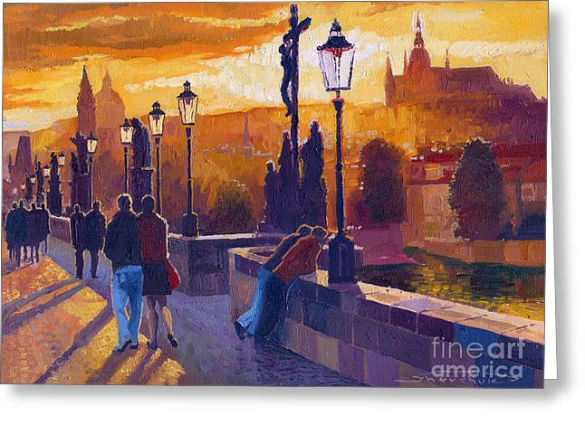 Buildings Paintings Greeting Cards - Golden Prague Charles Bridge Sunset Greeting Card by Yuriy  Shevchuk
