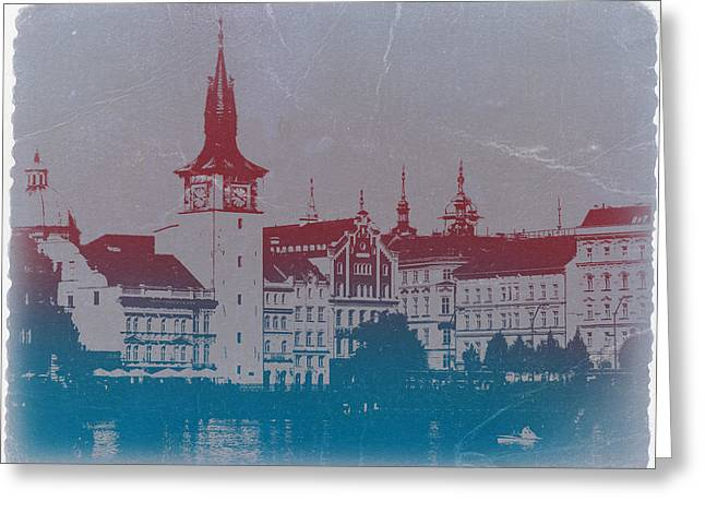 European Cities Greeting Cards - Golden Prague Greeting Card by Naxart Studio