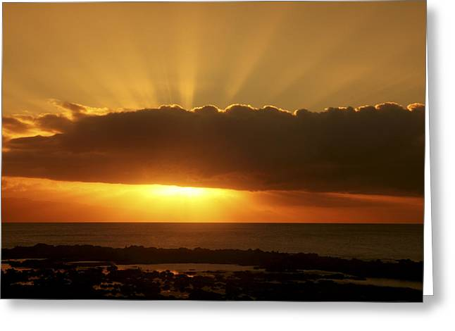 Destiny Greeting Cards - Golden Rays Sunset Greeting Card by Vince Cavataio - Printscapes