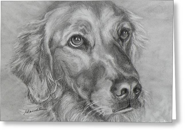 Dog Greeting Cards Greeting Cards - Golden Retriever Drawing Greeting Card by Susan A Becker