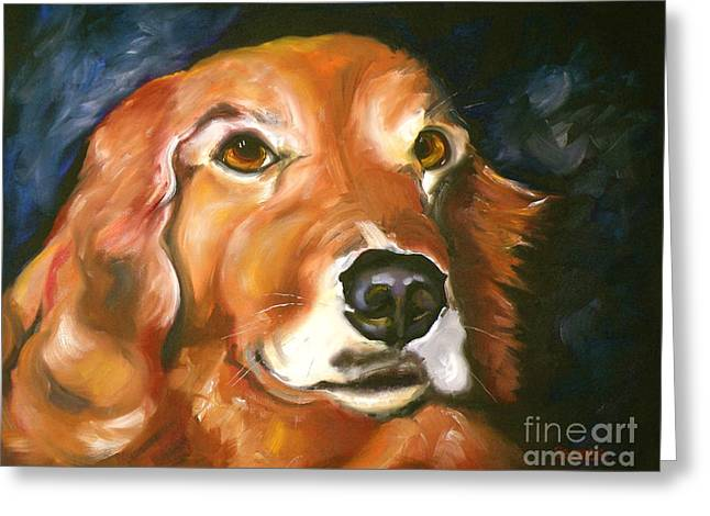 Retriever Prints Drawings Greeting Cards - Golden Retriever Forever Friend Greeting Card by Susan A Becker