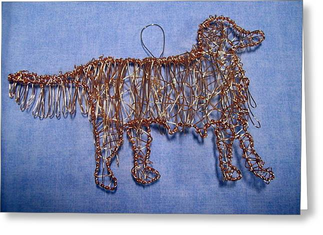 Dog Sculptures Greeting Cards - Golden Retriever ornament Greeting Card by Charlene White