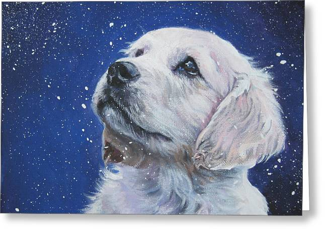 Golden Retriever Pup in Snow Greeting Card by L A Shepard