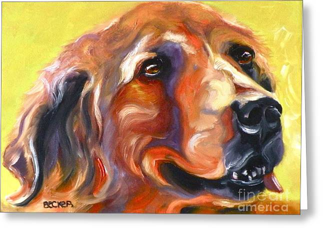 Retriever Prints Drawings Greeting Cards - Golden Retriever The Shadow of Your Smile Greeting Card by Susan A Becker