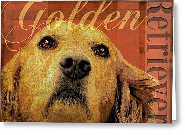 Retriever Prints Digital Art Greeting Cards - Golden Retriever Greeting Card by Wendy Presseisen