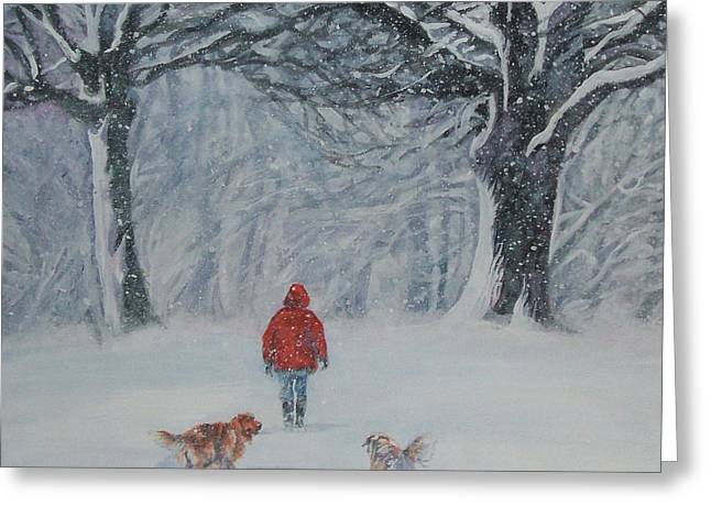 Best Sellers -  - Puppies Greeting Cards - Golden Retriever winter walk Greeting Card by Lee Ann Shepard