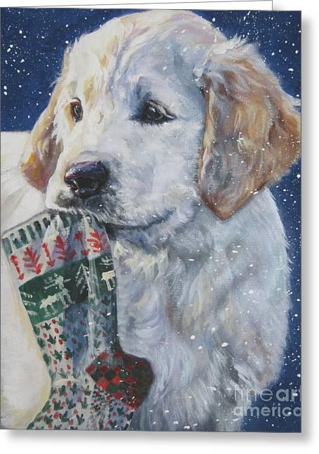 Golden Retriever Puppy Greeting Cards - Golden Retriever With Xmas Stocking Greeting Card by L A Shepard