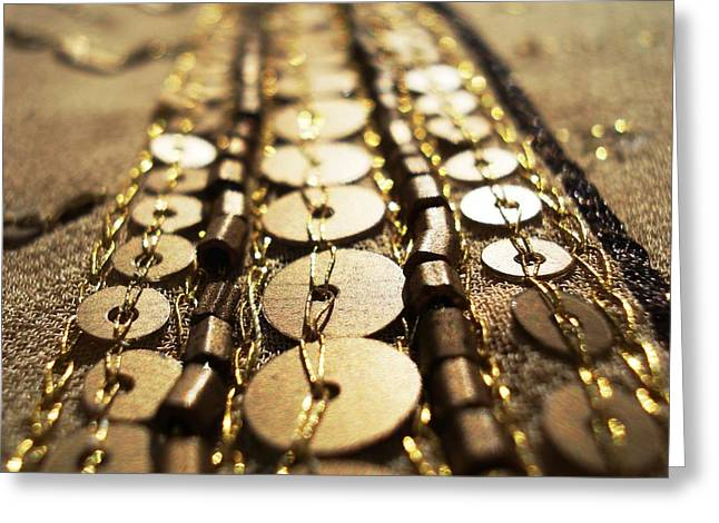 Ethnic Greeting Cards - Golden Sequins Highway Greeting Card by Sumit Mehndiratta