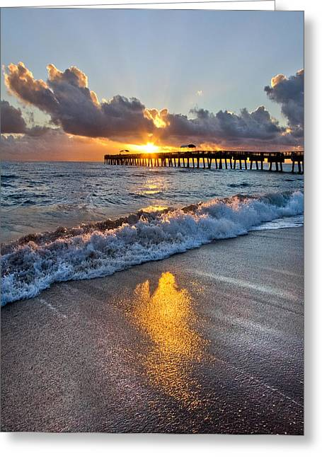Tidal Photographs Greeting Cards - Golden Shadows Greeting Card by Debra and Dave Vanderlaan