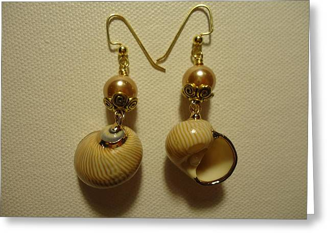 Jenna Jewelry Greeting Cards - Golden Shell Earrings Greeting Card by Jenna Green
