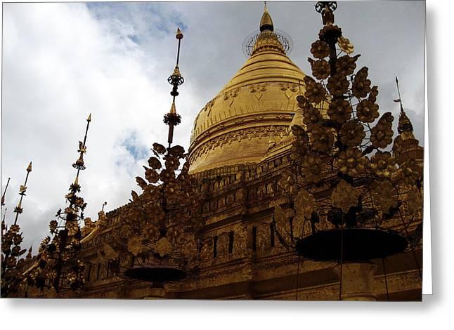 Bagan Greeting Cards - Golden Shwezigon Pagoda Greeting Card by RicardMN Photography