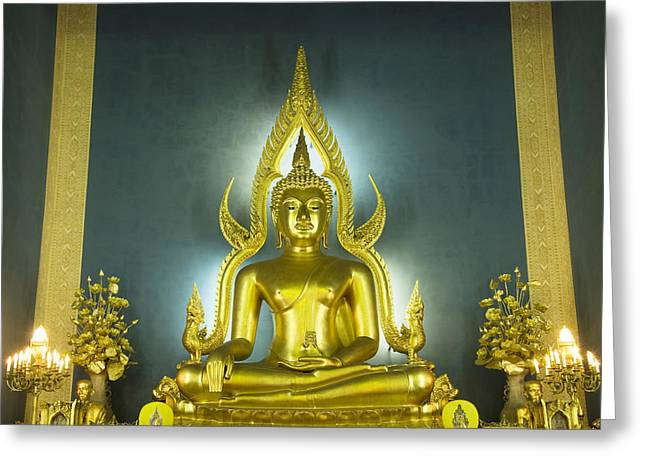 Golden Sitting Buddha Greeting Card by Gloria and Richard Maschmeyer