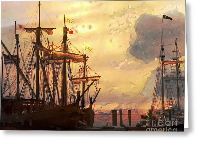 Historic Schooner Greeting Cards - Golden Skies Greeting Card by Patricia Januszkiewicz