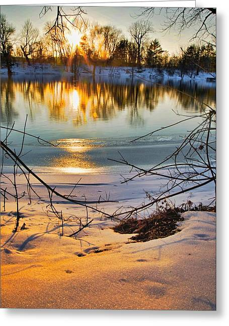 Abandoned House Mixed Media Greeting Cards - Golden snow Greeting Card by Robert Pearson