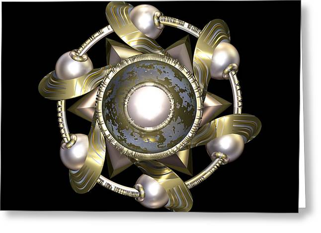 Jewellery Greeting Cards - Golden Sun Disc Greeting Card by Hakon Soreide