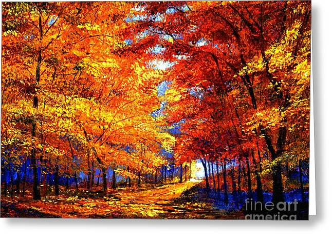 Fallen Leaves Greeting Cards - Golden Sunlight Greeting Card by David Lloyd Glover