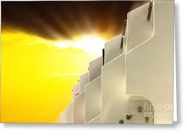 Rent House Greeting Cards - Golden sunset and cloud behind white Mediterranean buildings Greeting Card by Simon Bratt Photography LRPS