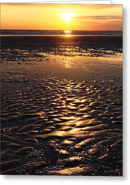 Sunset Abstract Greeting Cards - Golden Sunset On The Sand Beach Greeting Card by Setsiri Silapasuwanchai