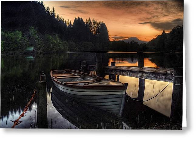 Sunset Posters Greeting Cards - Golden Sunset over Loch Ard Greeting Card by Amanda Finan