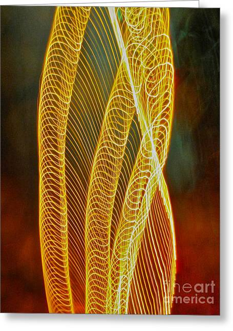 Sean Griffin Greeting Cards - Golden swirl abstract Greeting Card by Sean Griffin