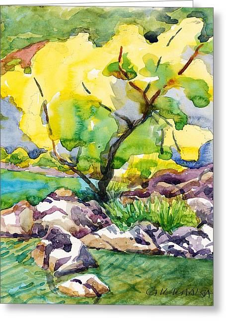 Prescott Paintings Greeting Cards - Golden Tree at Goldwater Lake Greeting Card by Gurukirn Khalsa