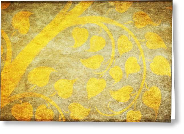 Tears Greeting Cards - Golden Tree Pattern On Paper Greeting Card by Setsiri Silapasuwanchai