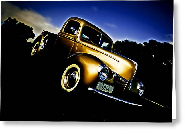 Phil Motography Clark Greeting Cards - Golden V8 Greeting Card by Phil