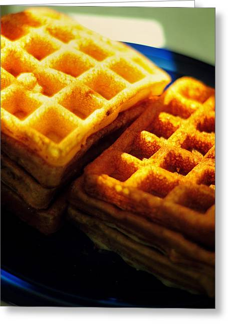 Menu Greeting Cards - Golden Waffles Greeting Card by Rebecca Sherman
