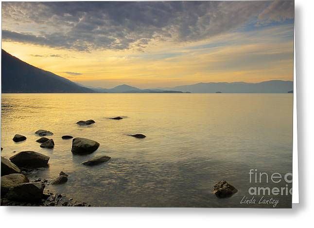 Sandpoint Greeting Cards - Golden Waters Greeting Card by Idaho Scenic Images Linda Lantzy
