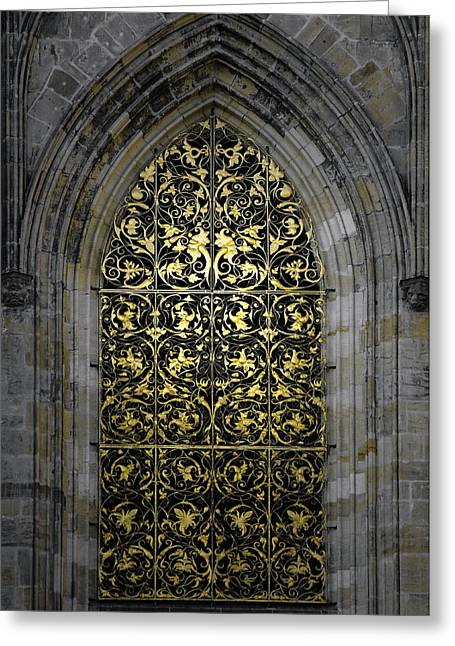 Vine Greeting Cards - Golden Window - St Vitus Cathedral Prague Greeting Card by Christine Till