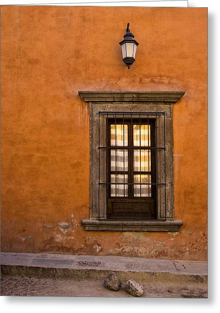 San Miguel De Allende Greeting Cards - Golden Window Mexico Greeting Card by Carol Leigh