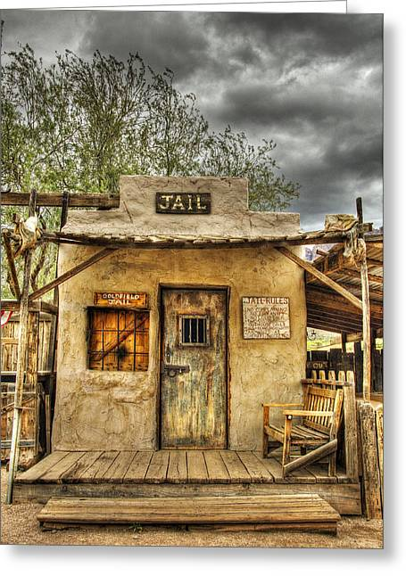 Historic Architecture Greeting Cards - Goldfield Ghost Town - Jail  Greeting Card by Saija  Lehtonen
