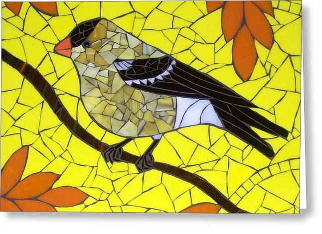 Yellows Glass Art Greeting Cards - Goldfinch Greeting Card by Barbara Benson Keith