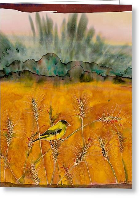 Dye Tapestries - Textiles Greeting Cards - Goldfinch in the wheat Greeting Card by Carolyn Doe