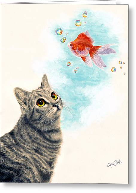 Goldfish Mixed Media Greeting Cards - Goldfish Dreams Greeting Card by Callie Fink