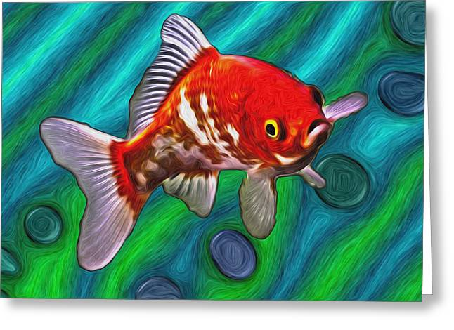 Goldfish Mixed Media Greeting Cards - Goldfish Greeting Card by Eastern Sierra Gallery