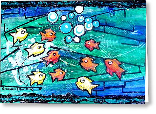 Sea Animals Greeting Cards - Goldfish Pac Man Greeting Card by Genevieve Esson