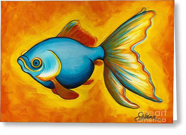 Bright Colors Greeting Cards - Goldfish Greeting Card by Sabina Espinet