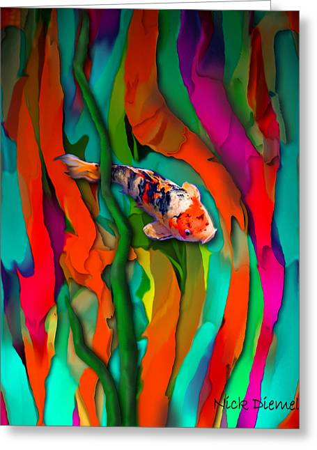 Goldfish Mixed Media Greeting Cards - Goldfish world Greeting Card by Nick Diemel