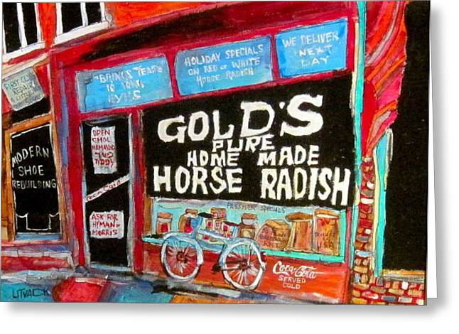 Gold's Horseradish Greeting Card by Michael Litvack