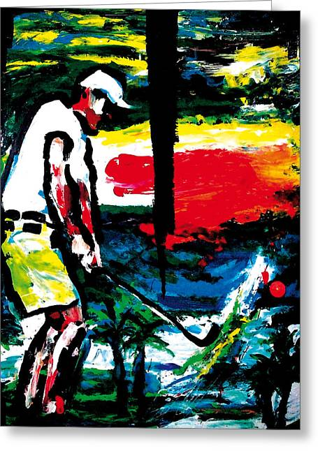 Linked Mixed Media Greeting Cards - Golf And Palm Trees Greeting Card by Gerald Herrmann